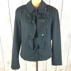 INC Black Zip Front Waterfall Blazer Jacket Sz XL
